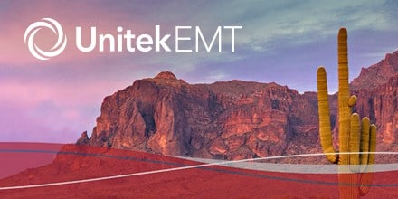 Image of Arizona Mountains and Cactus with Unitek EMT Logo
