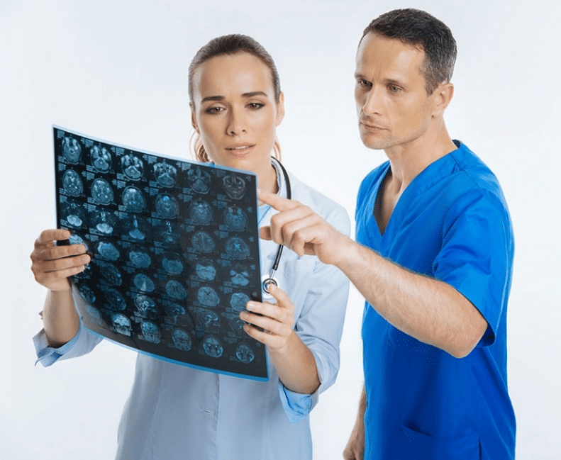 Nurse and doctor discussing test results