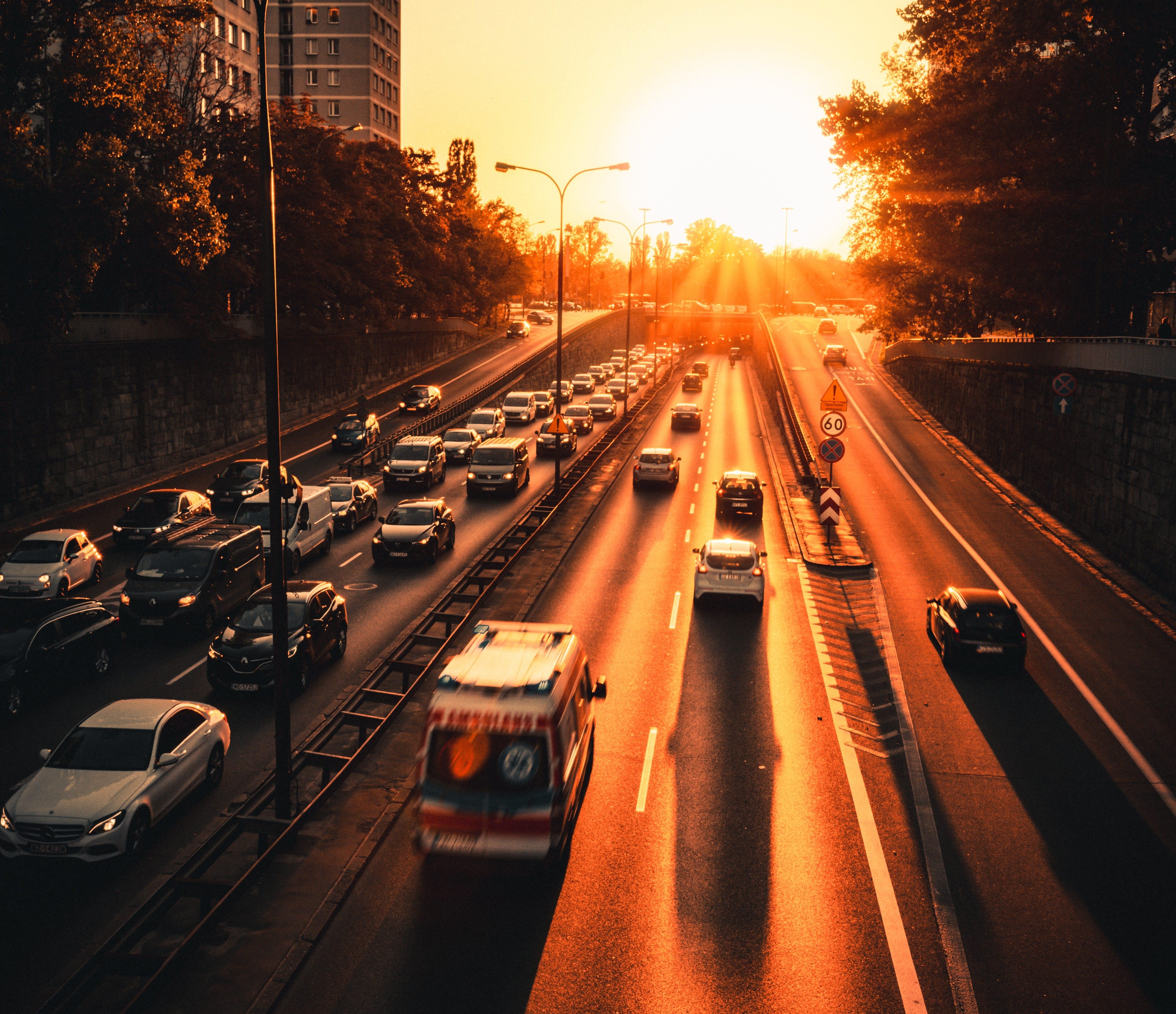 Ambulance in evening traffic